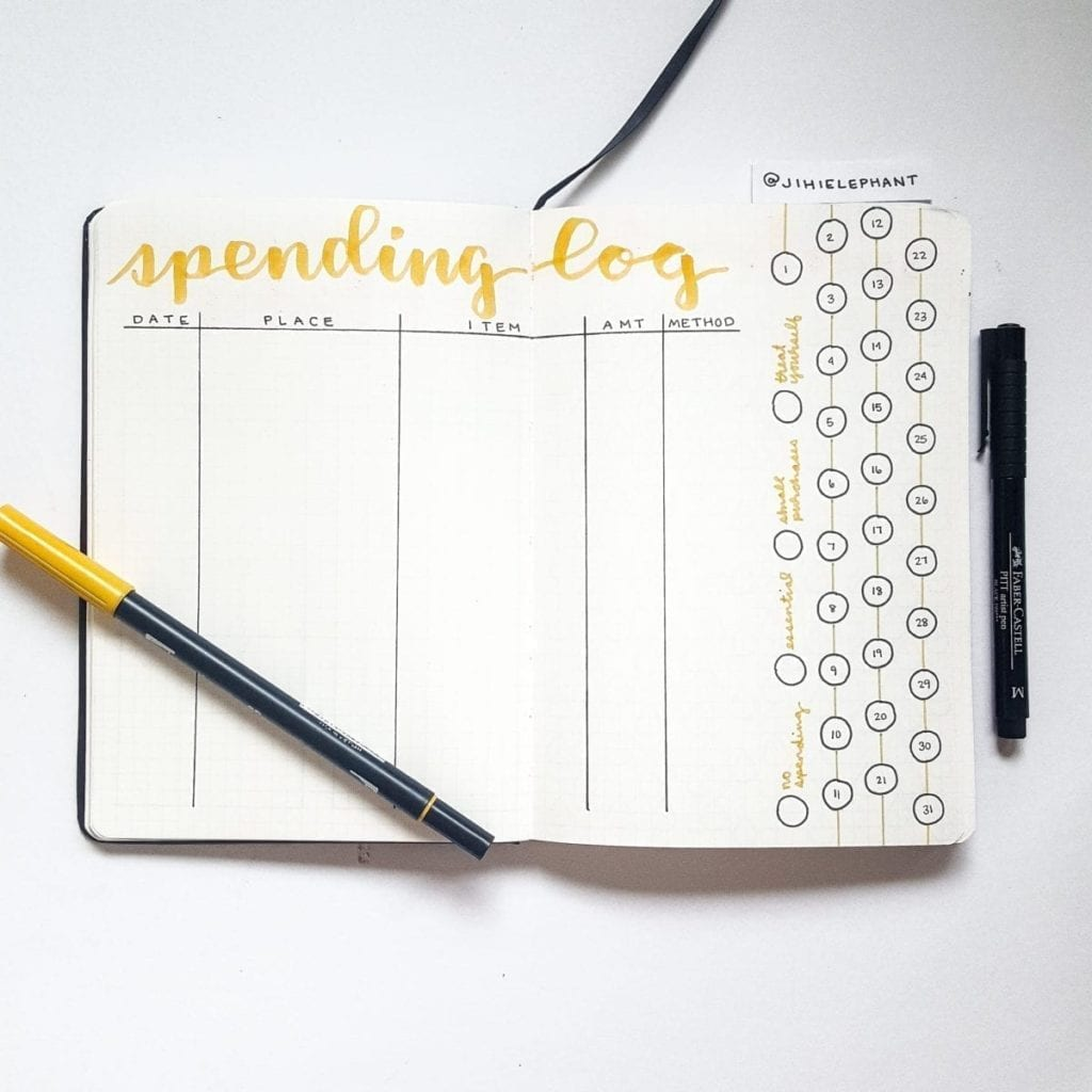 yellow spending log track finances Christine