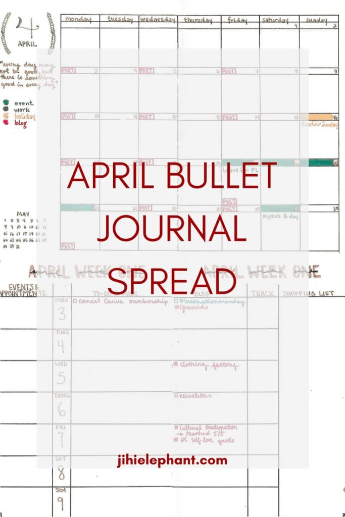 April Bullet Journal Spread