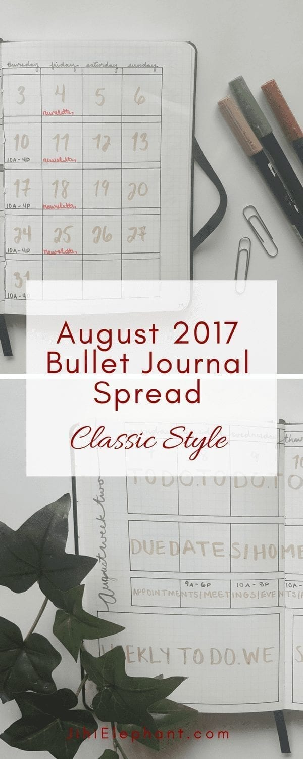 August 2017 Bullet Journal Spread | Classic Style