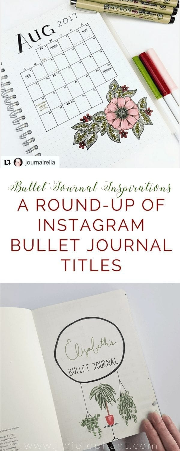 Bullet Journal Instagram Title Page Round Up