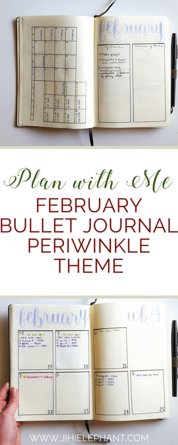 Plan with Me | February Bullet Journal Periwinkle Theme