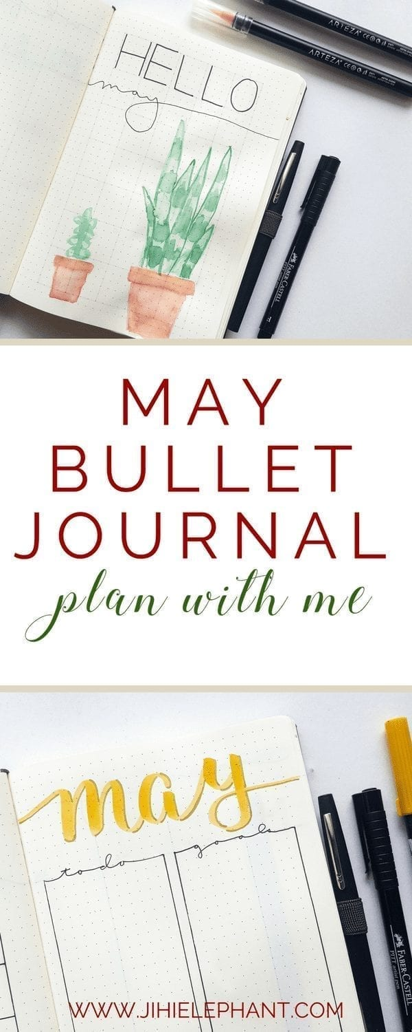 May Bullet Journal Plan-With-Me | Yellow & Houseplant