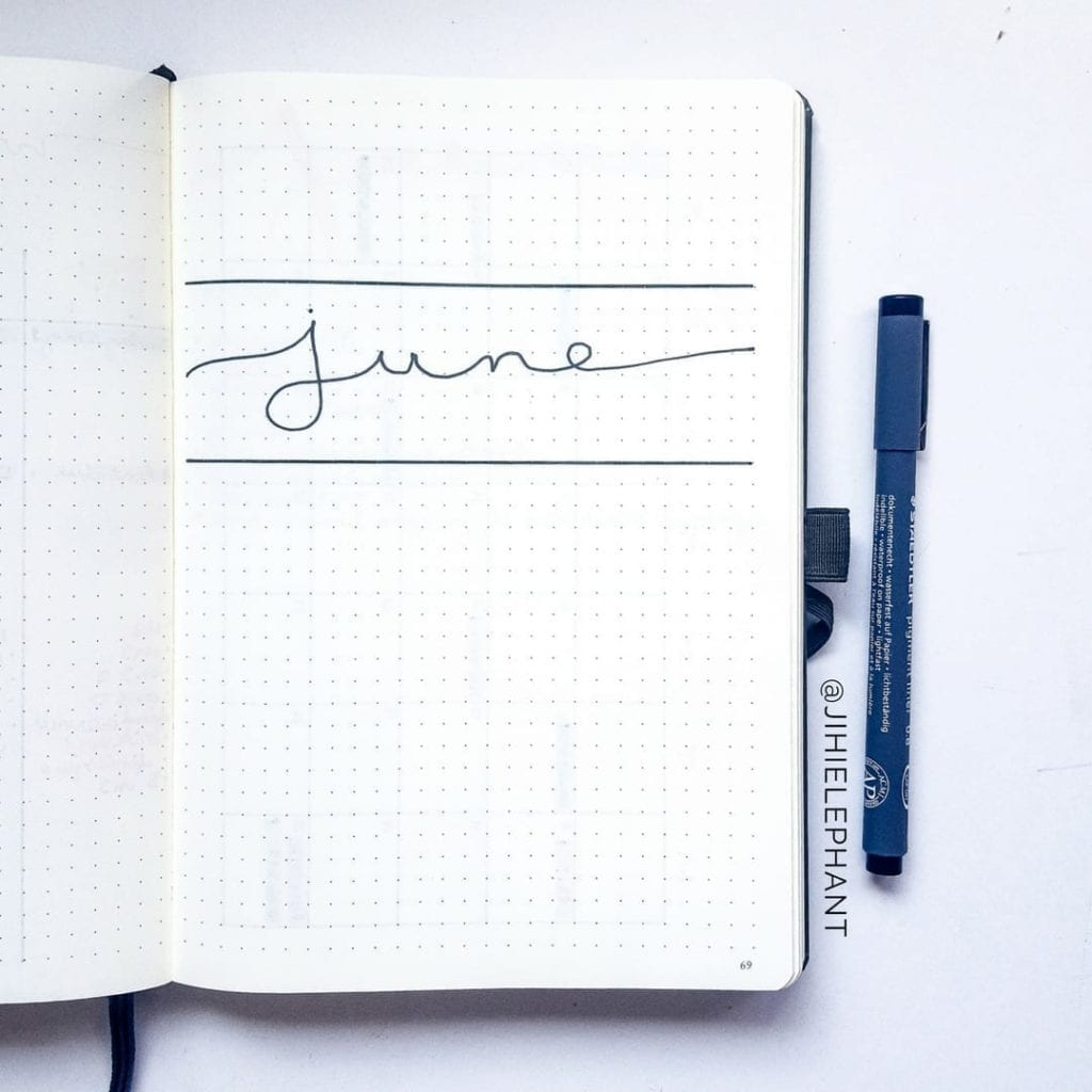 minimal june cover page with line above and below script lettering