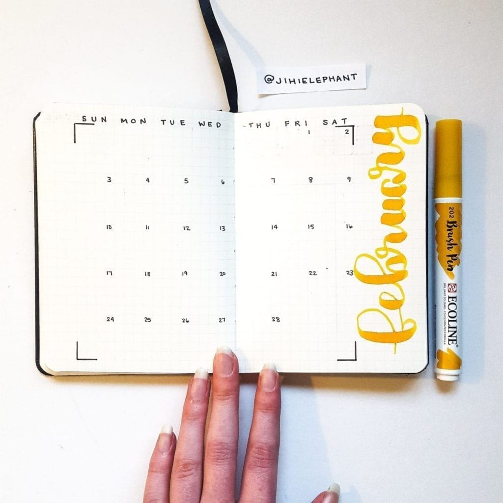 Natali's yellow february monthYellow A6 Bullet Journal