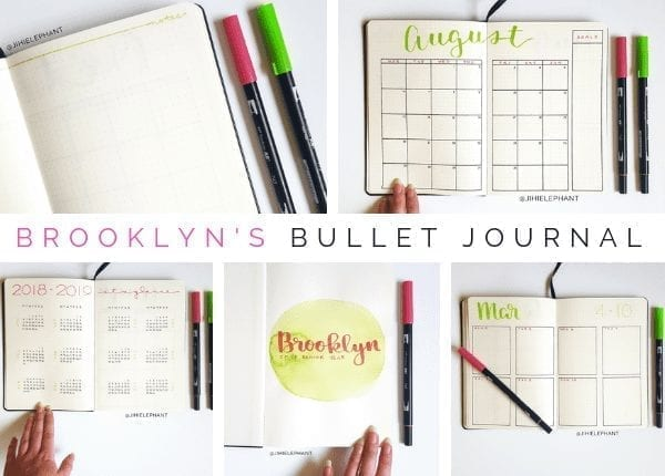 Here is a breakdown of the bullet journal inspired planner created for Brooklyn. For Brooklyn's notebook the main colors being bright pink and bright green.