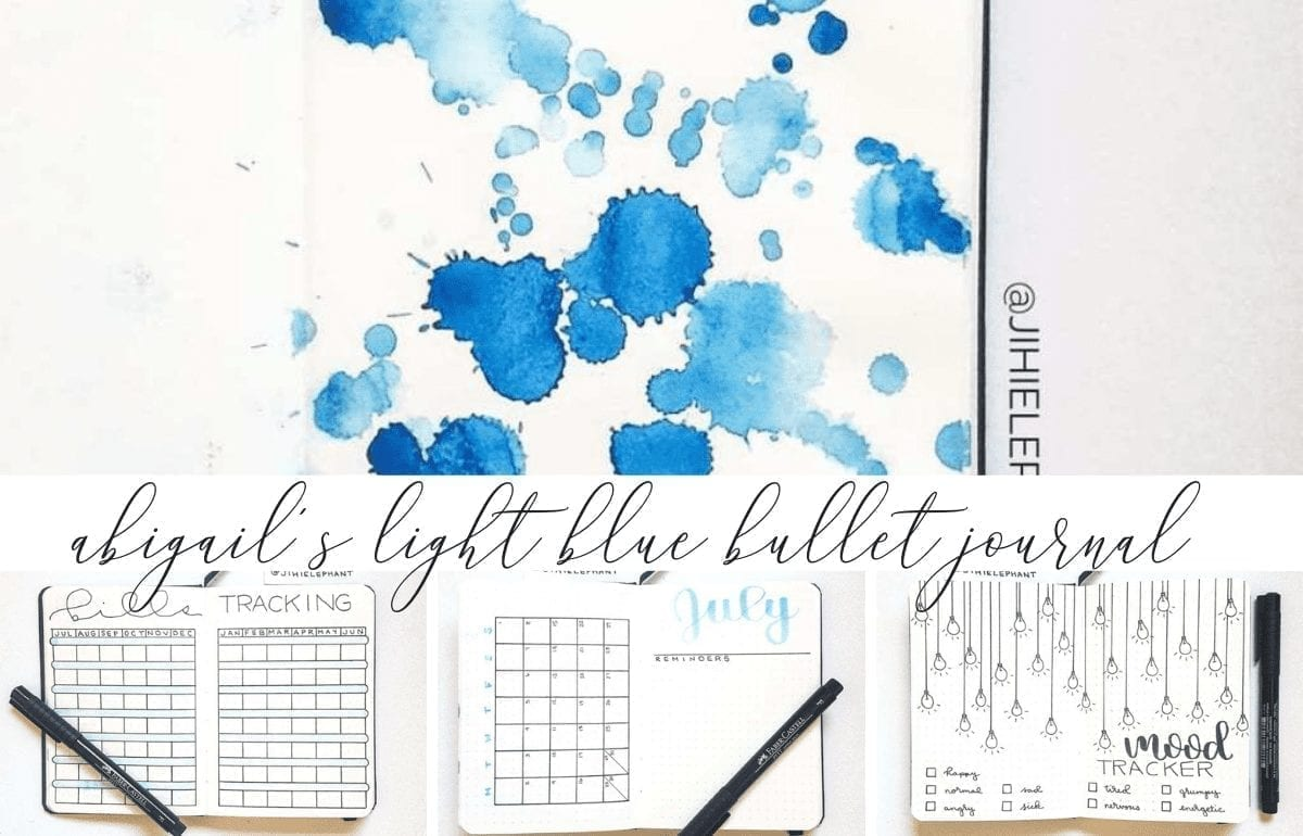 Here is a breakdown of the bullet journal inspired planner created for Abigail. For Abigail's notebook the main color is light blue.