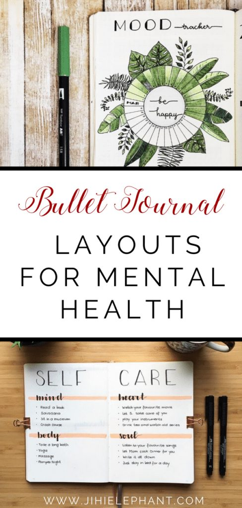 This post is an inspirational list of mental health bullet journal layouts including trackers, self-care lists, gratitude pages, etc.