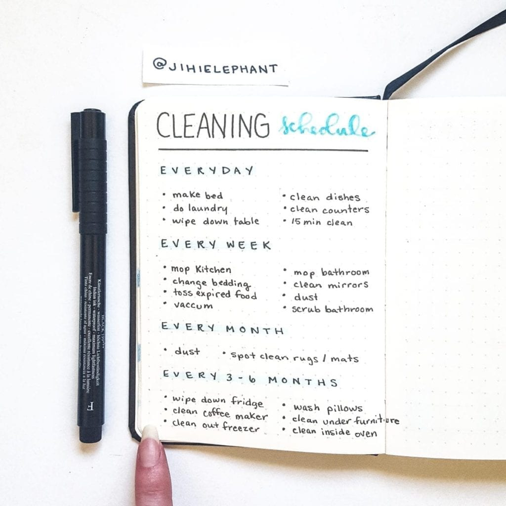 blue cleaning schedule