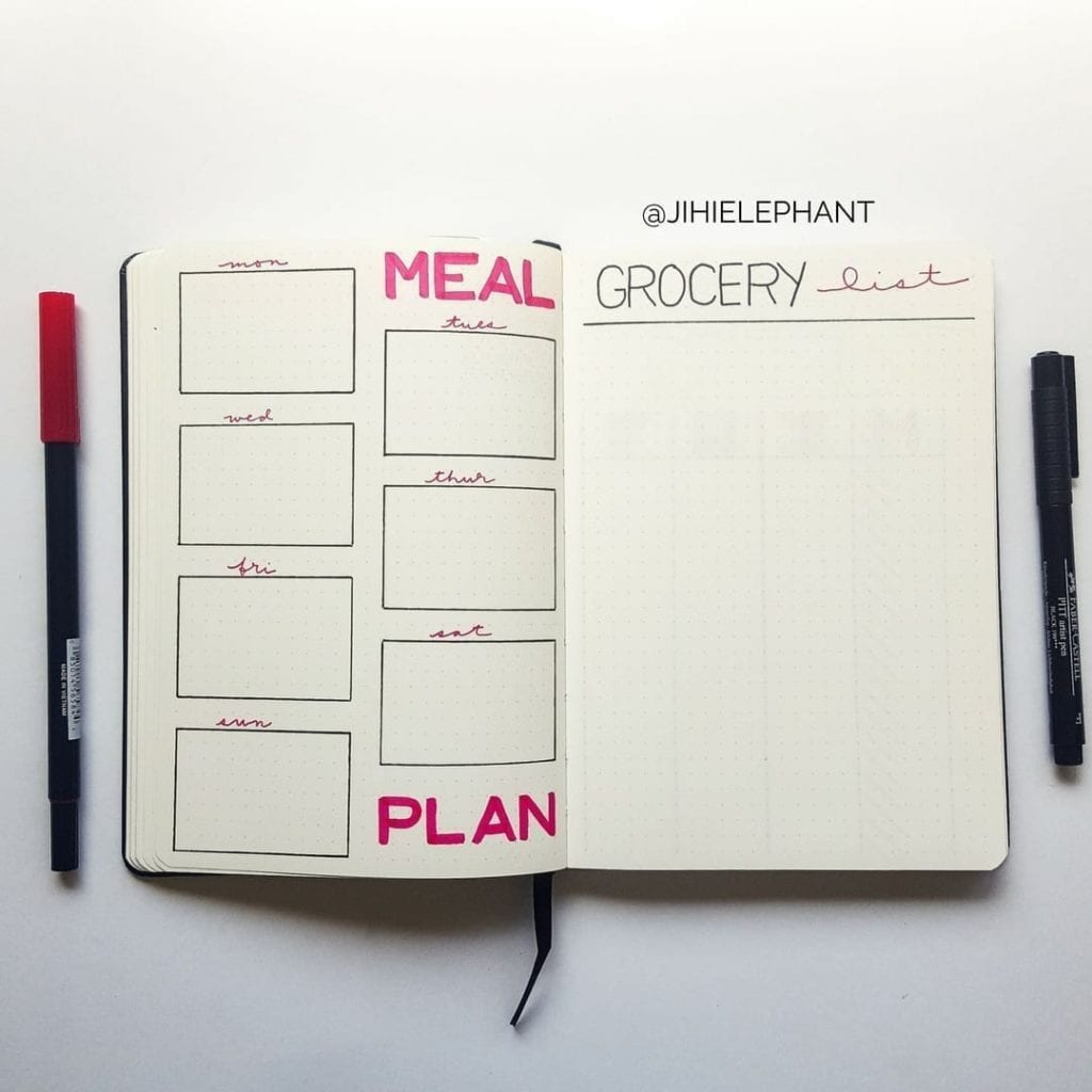 pink week meal plan grocery list Lacey