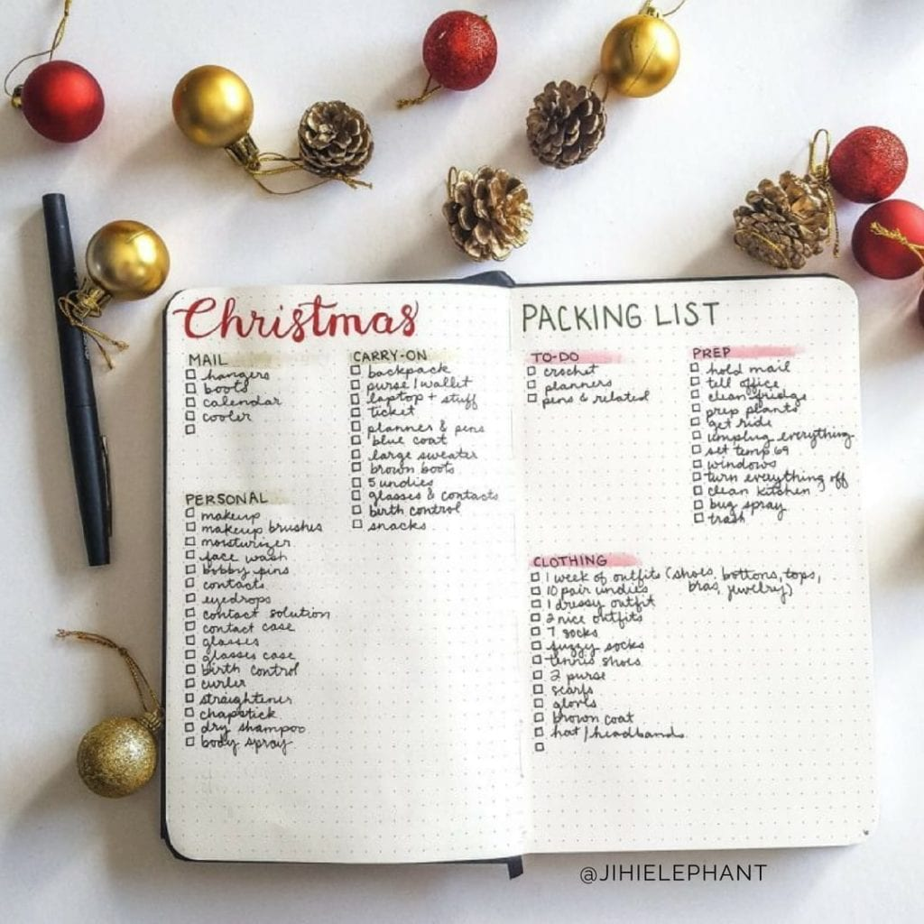red christmas packing list