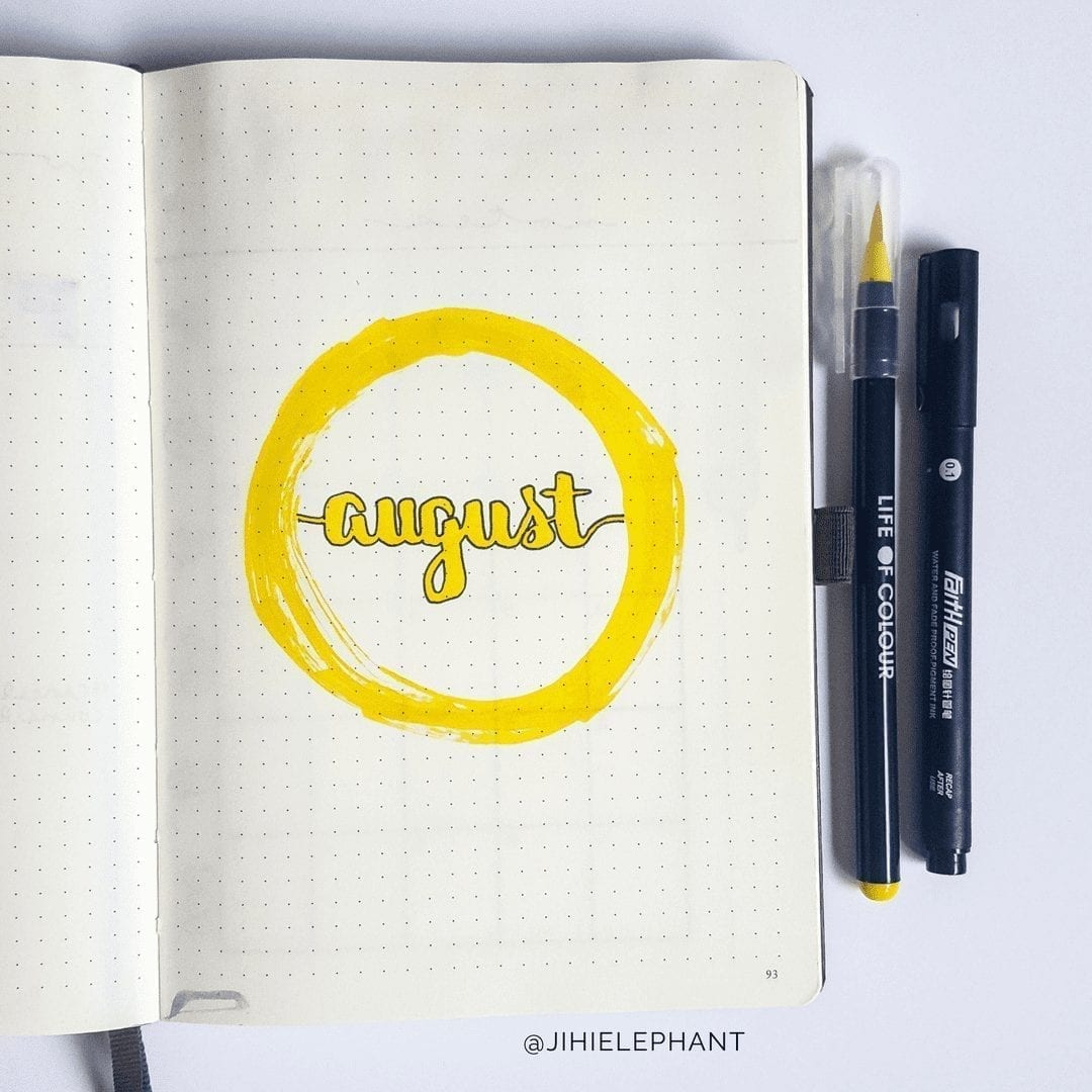 August Bullet Journal Plan-With-Me   Happy Sunshine Yellow