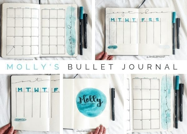 Here is a breakdown of the bullet journal inspired planner created for Molly. Molly's notebook was created iwith the main color being teal blue.