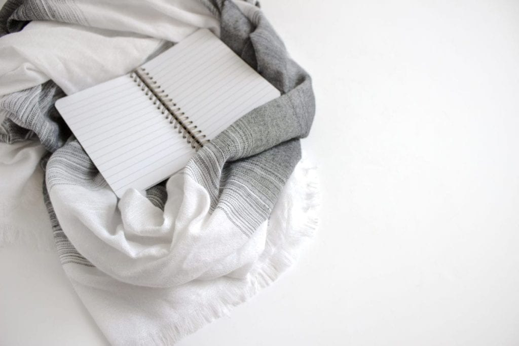 notebook on blanket