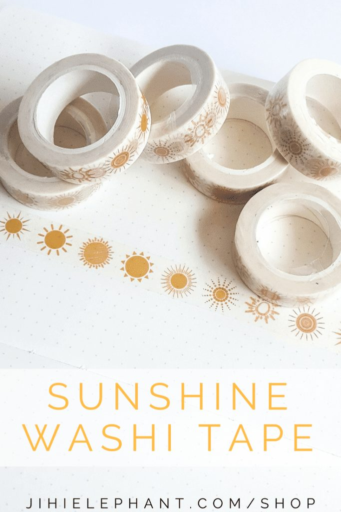 This bright and fun washi tape features several different sunshines in a bright golden yellow. This tape brightens up any planner or craft project.