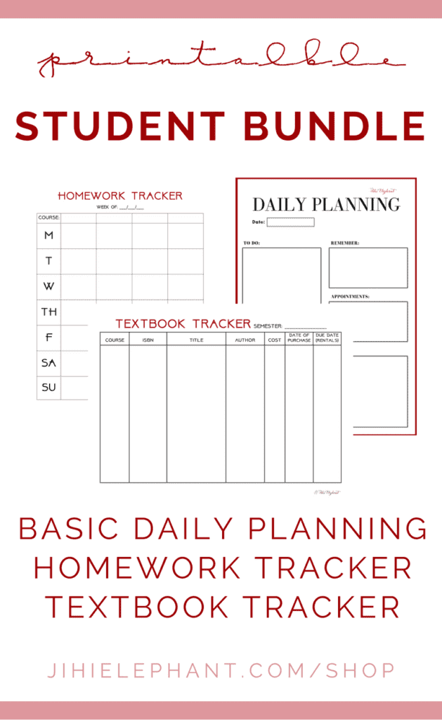 This bundle includes 3 downloadable planner layouts for students including the Daily Planning Page, Homework Tracker, and Textbook Tracker.