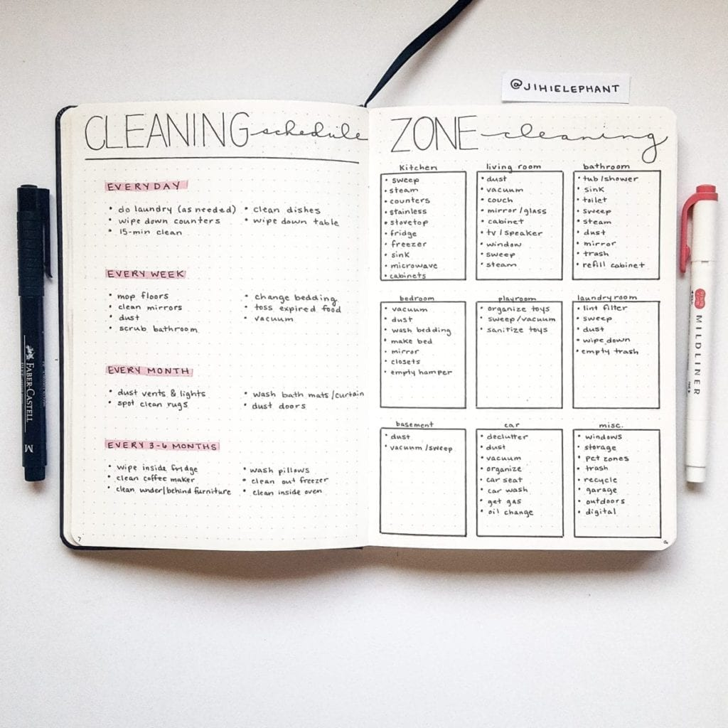 pink cleaning schedule zone cleaning Emily