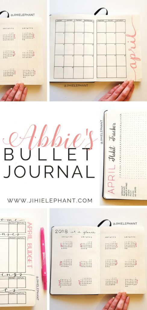 Here is a breakdown of the bullet journal inspired planner created for Abbie. Abbie's notebook was created with the main color being pink.