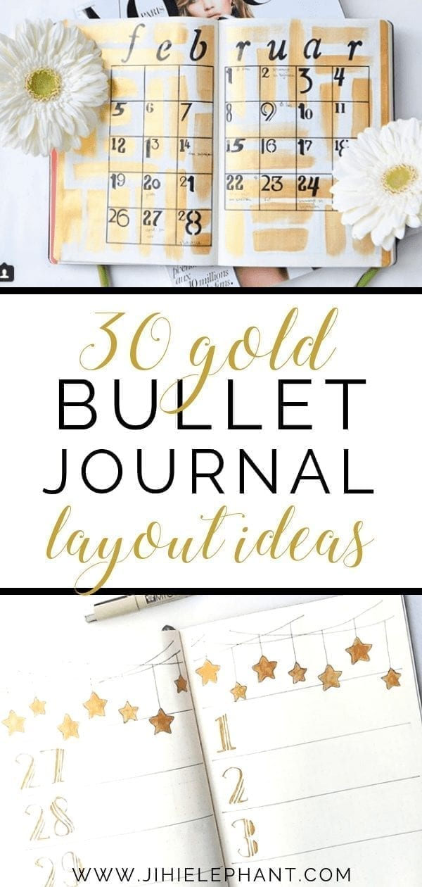 30 Shimmering Gold Bullet Journal Layouts
