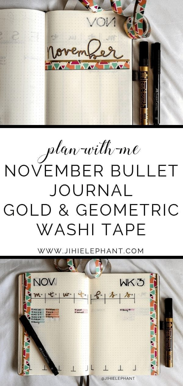 November Bullet Journal | Gold & Geometry Plan-with-Me
