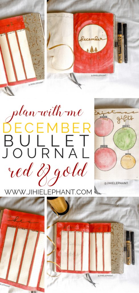 December Bullet Journal Plan-with-Me | Red & Gold