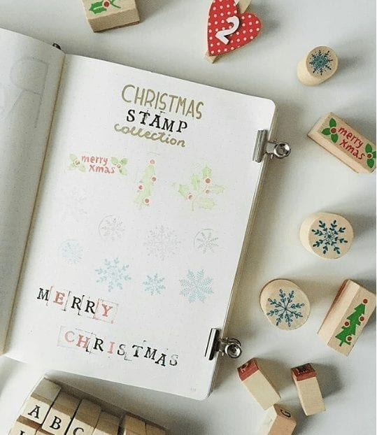 bluebearjournaling christmas stamps collection
