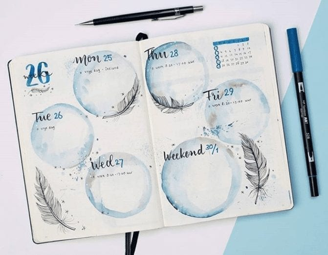 29 Gorgeous Watercolor Bullet Journal Layout Ideas