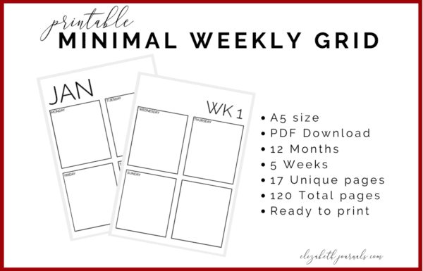 If you are interested in a very simple design to track your daily and weekly to-do's in, then this printable is perfect for you. This minimal weekly grid includes 17 total page files, 12 months and 5 weeks. This printable is great for simple and functional daily planning. This printable is not specific to any year and the pages can be interchanged to work for any year. Purchase this listing to instantly download the PDF of the designs. You get 1 PDF file including!