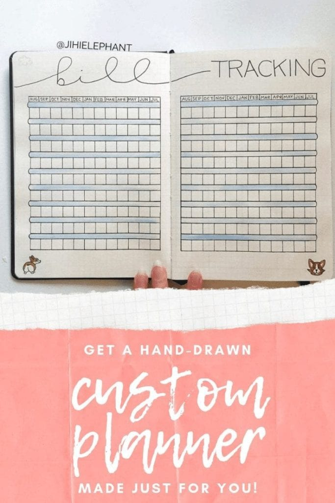 These custom bullet journals are A5 or A6 sized planners for those who do not have the time to make one themselves. These are hand-drawn, and customizable.