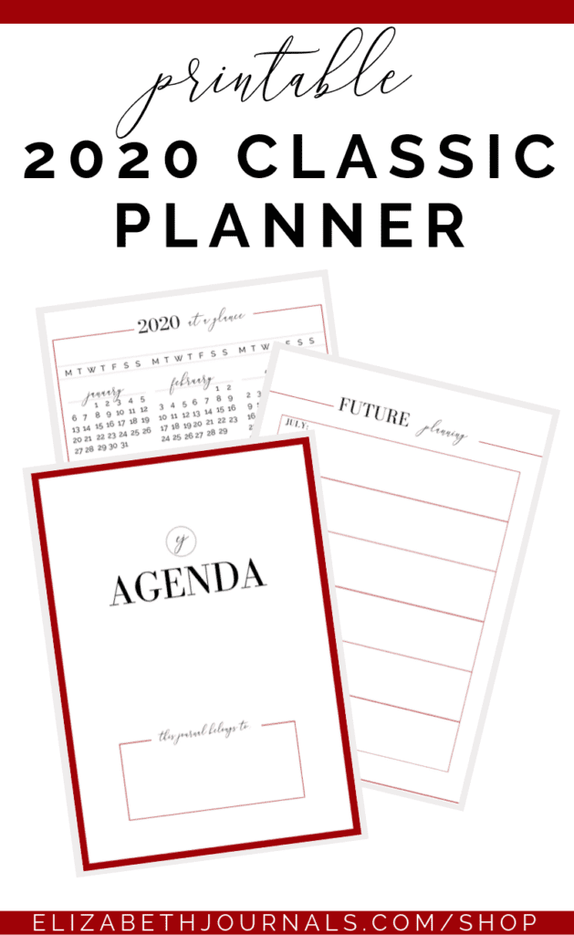This 2020 classic planner/agenda includes 12 months of planning as well as '2020 At A Glance,' 'Future Planning,' 'Notes,' and 'Important Contacts.'