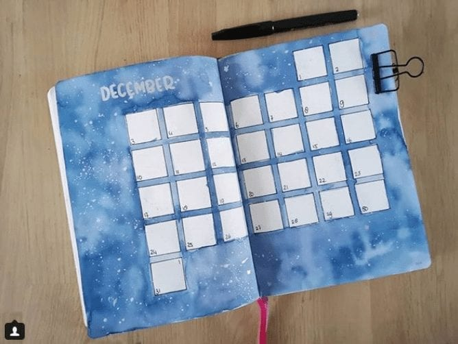 27 Magical Winter Wonderland Bullet Journal Layout Inspiration