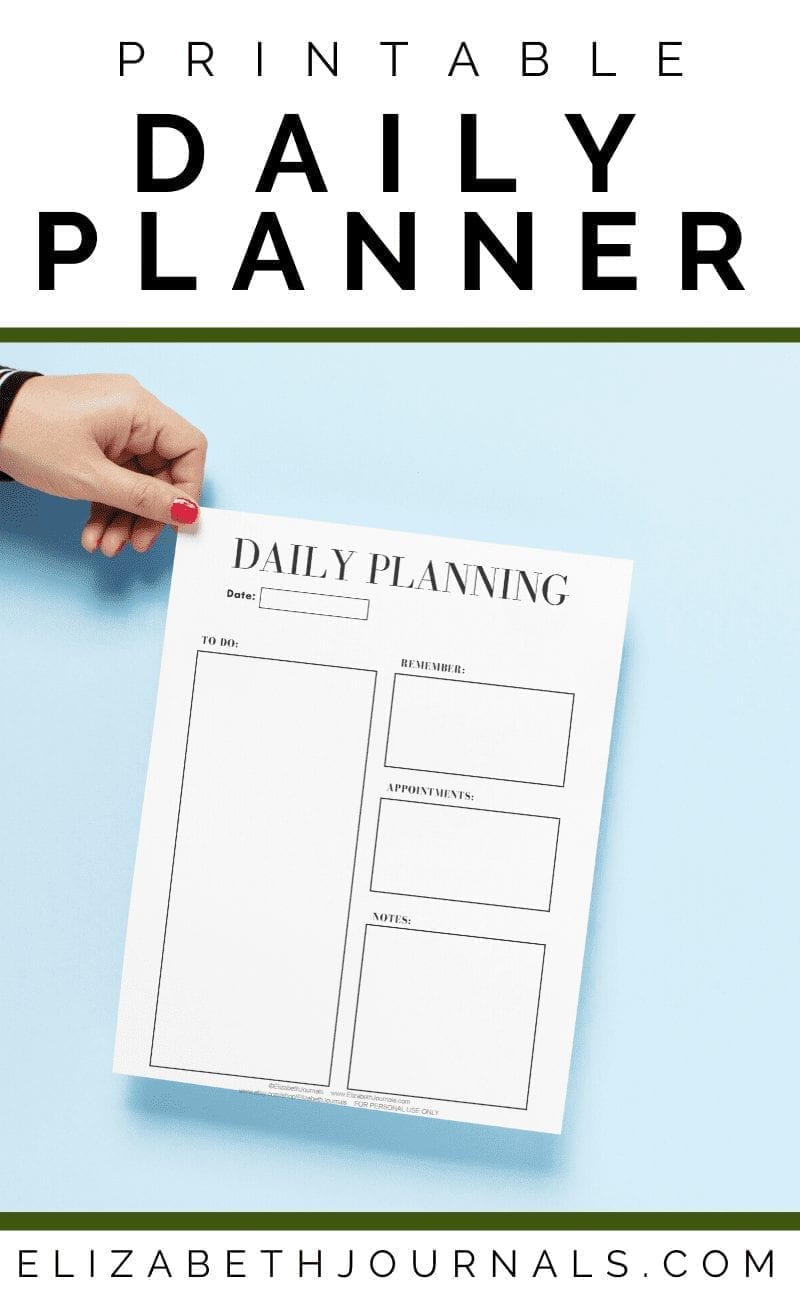 pinterest image 2-printable-daily planner-preview of daily planning page on paper held up in front of blue backgroundls