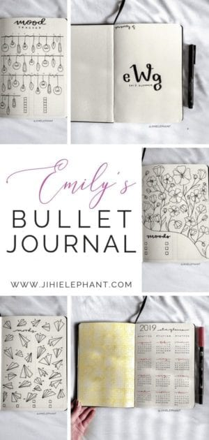 For Emily's notebook, the main colors are pink and yellow. The layouts involved include a title page, year at a glance, monthly calendar, monthly habits...