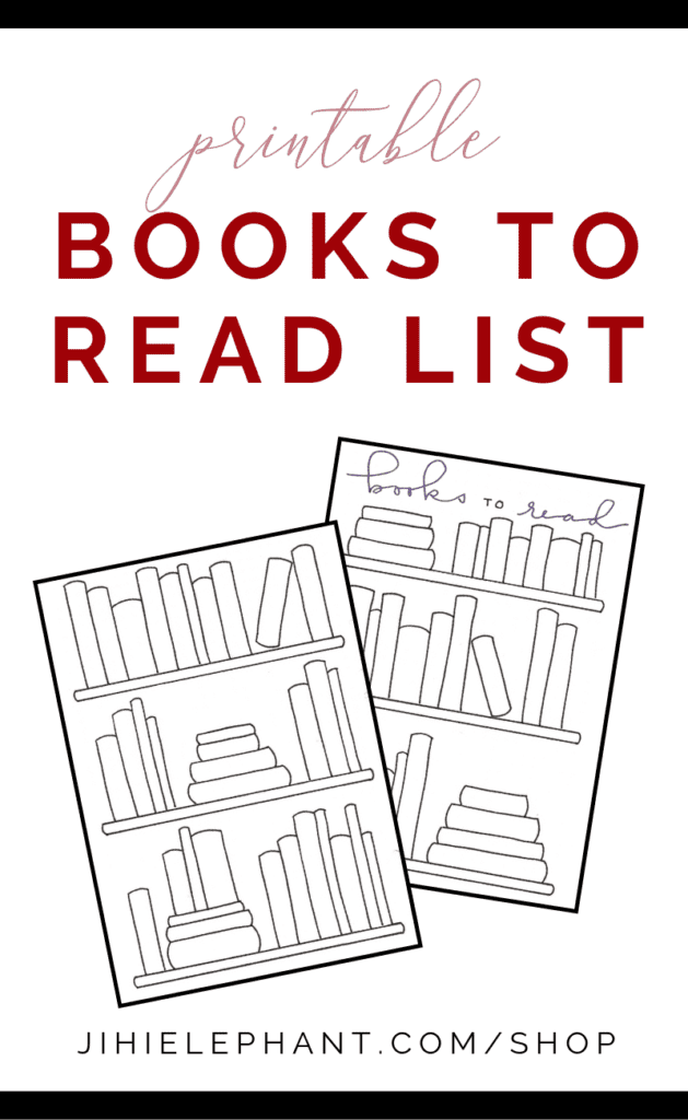 This layout features a bookshelf full of black and white books to color in and to write book names onto. Keep track of the books you read or want to read