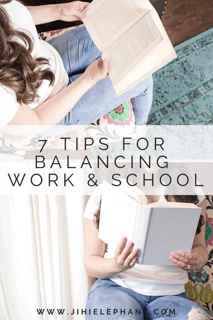 pinterest image 1. 8* tips for balancing work & school. images of women reading.