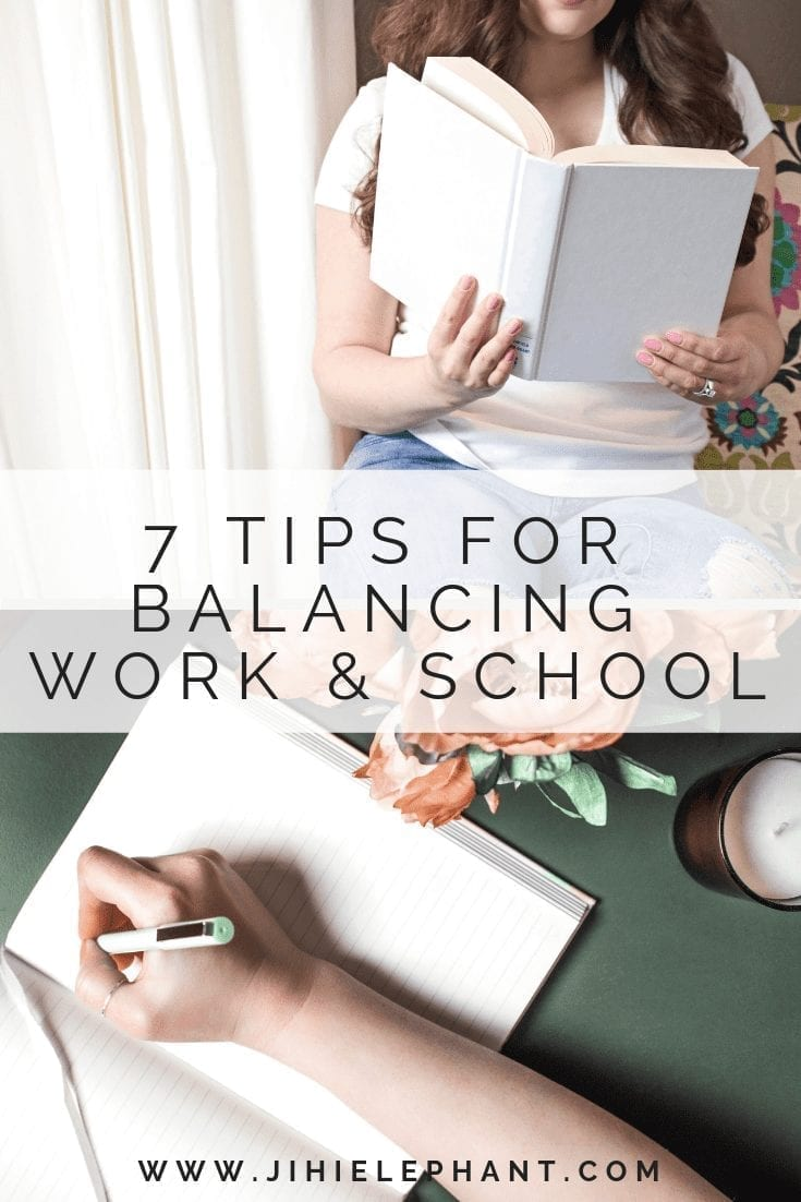 pinterest image 2. 8* tips for balancing work & school. images of women reading and writing.
