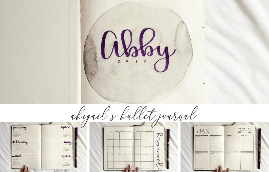 For Abigail's notebook the main color is purple. Further, the layouts involved include a title page, future log, monthly calendar, and weekly grid.