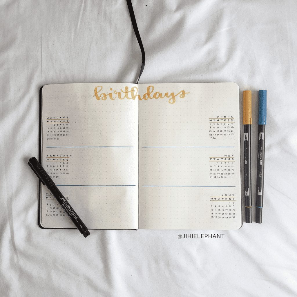 Kathleen's Yellow & Blue Bullet Journal | Client Gallery
