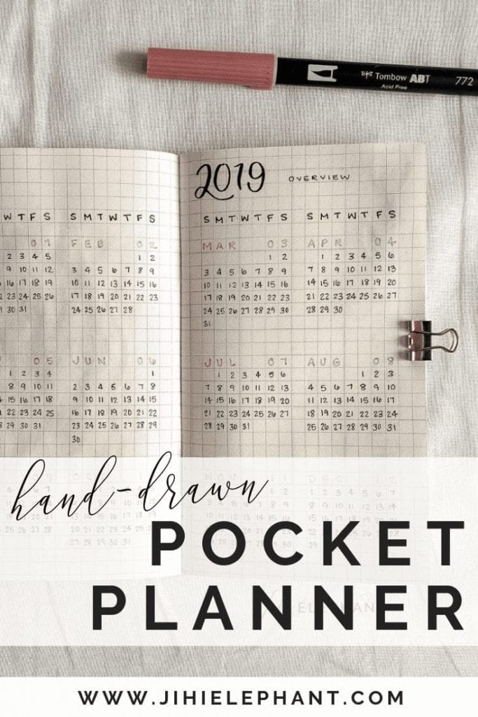 Pre-Order** Hand-Drawn Pocket Calendar | 6.5 x 3.7 inches | Bullet Journal Inspired