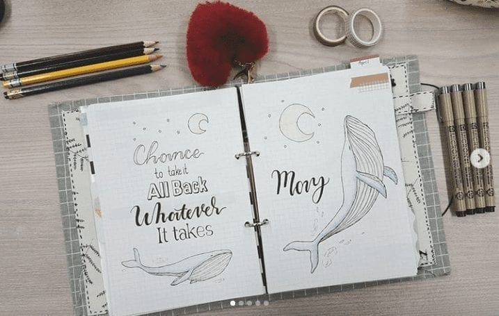 whale art on may cover with quote