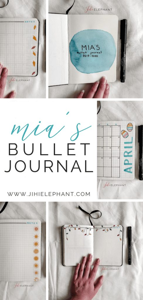 Mia's Teal & Themed A6-Sized Bullet Journal | Client Gallery