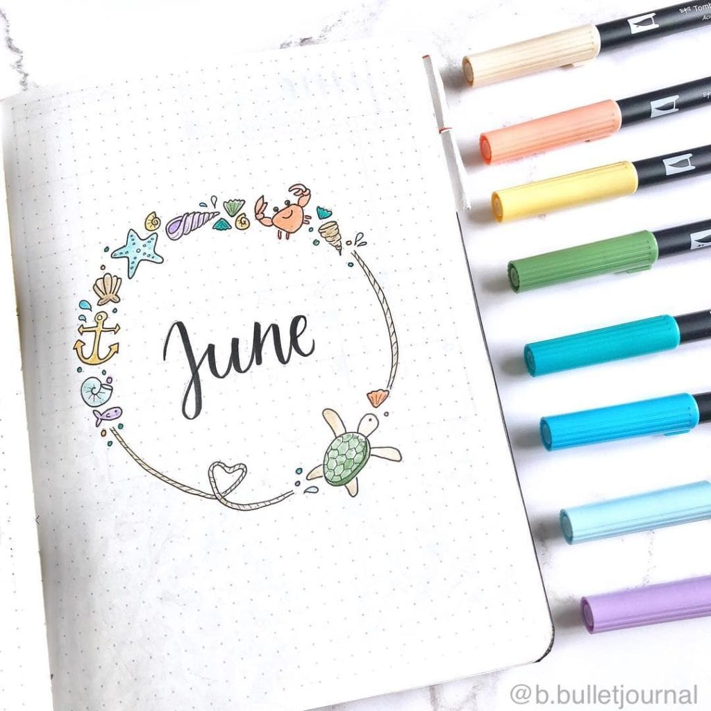 june cover page with nautical doodles
