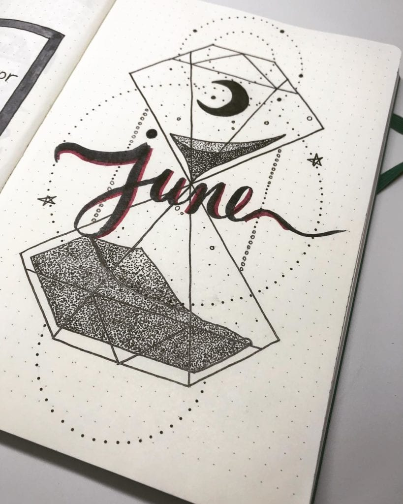 hourglass geometric line art june cover page