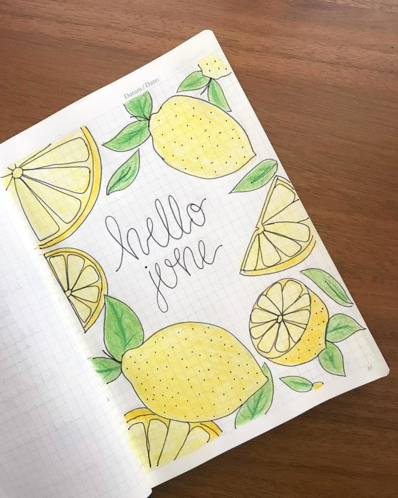 yellow and green lemons cover page. hello june
