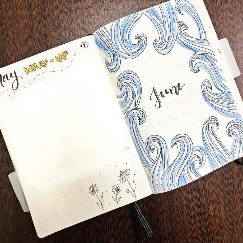 blue june cover page with wave art around header