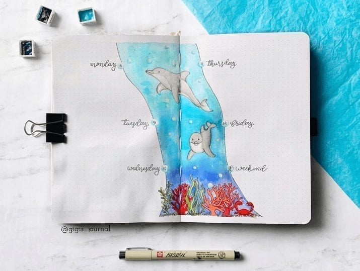dolphin watercolor scene in the center of the weekly log