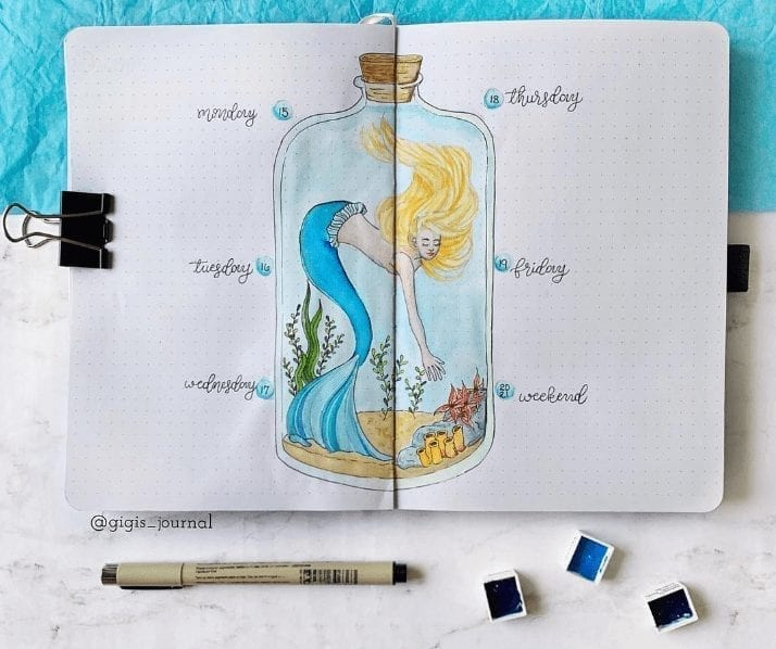 mermaid in a bottle watercolor art in the center with weekly log