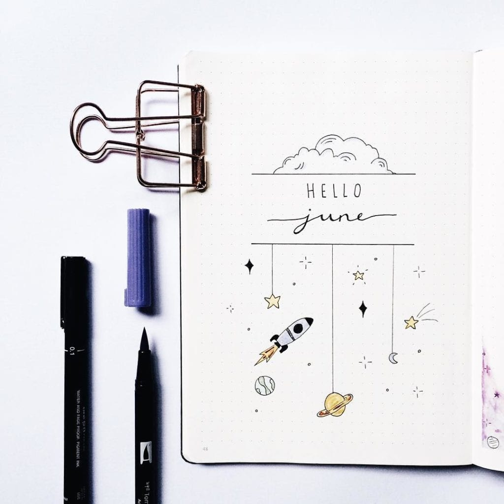 june cover page with hello june with cloud behind and space doodles hanging from