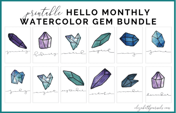 These Watercolor Gem Hello Monthly Bullet Journal Printables includes 12 cover or hello pages. These layouts are minimal yet feature a purple, teal, blue, and green watercolor gems or crystals. This bullet-journal-inspired download can be printed off and added to any planner or journal. Additionally, you will get one bonus gem-themed printable Instantly download the PNGs of these designs once you purchase the listing. You will get one download to use immediately!