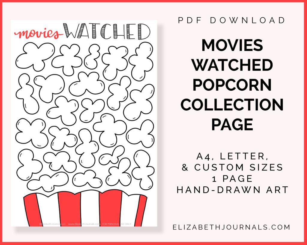 movies watched popcorn collection page_pdf download_a4 letter custom sizes_1 page_handdrawn art copy
