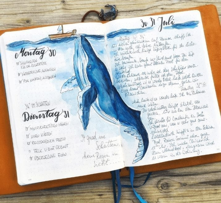 blue whale art with daily log